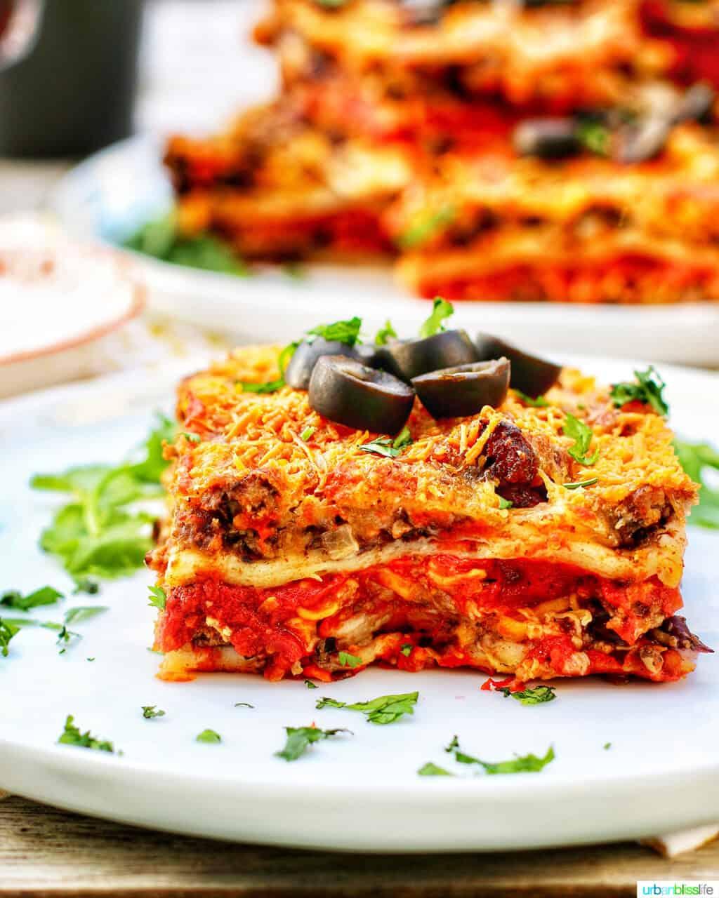 close up slice of Mexican lasagna