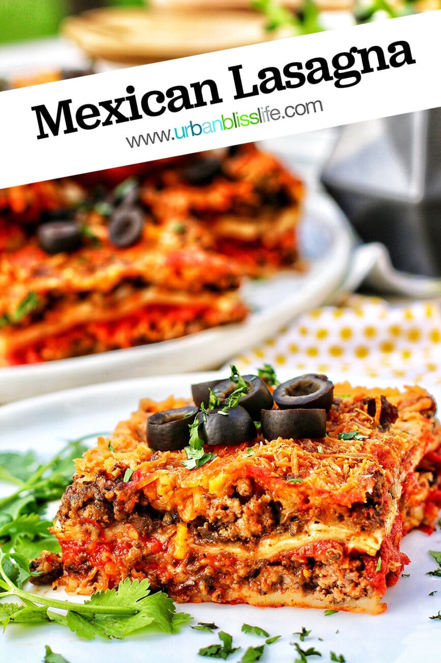 Mexican lasagna with text
