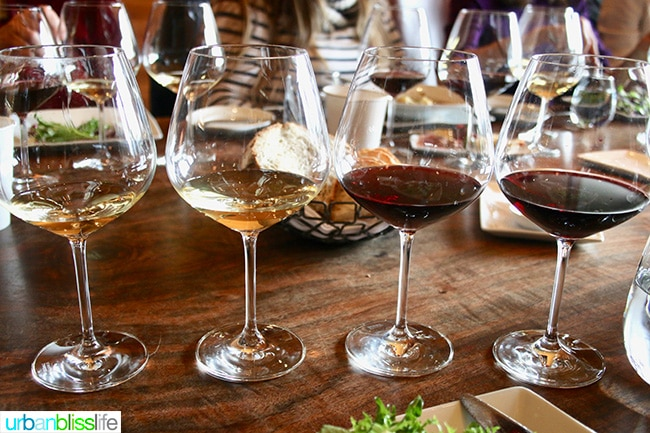 Open Claim Vineyards wine flight