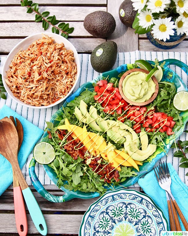 Instant Pot Shredded Chicken with creamy avocado lime dressing