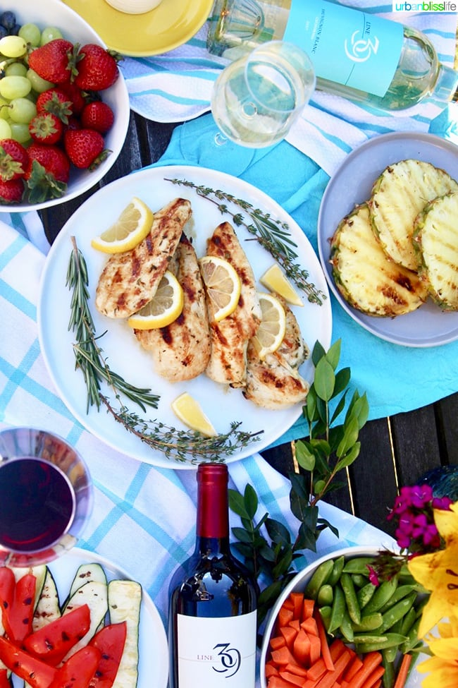 food and flatlay: Line 39 wine plus simple summer bbq
