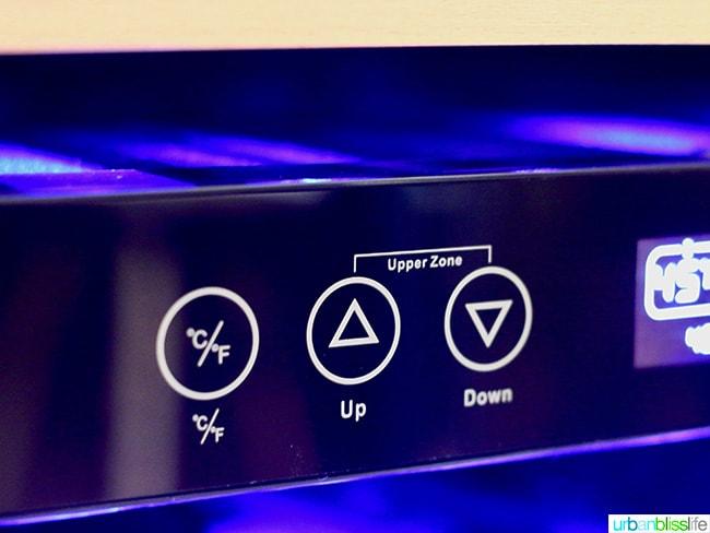 wine fridge temperature panel