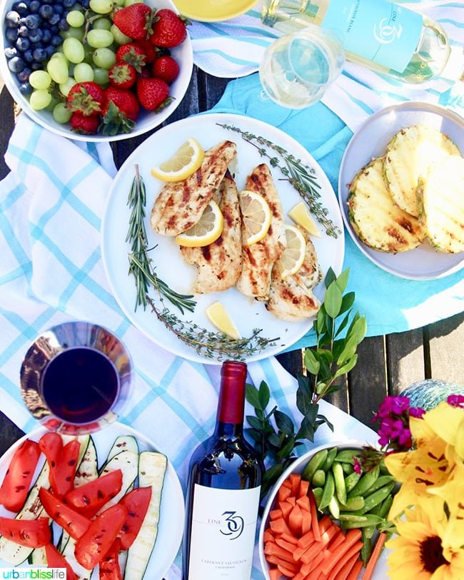 Lemon Grilled Chicken with red wine and fruit