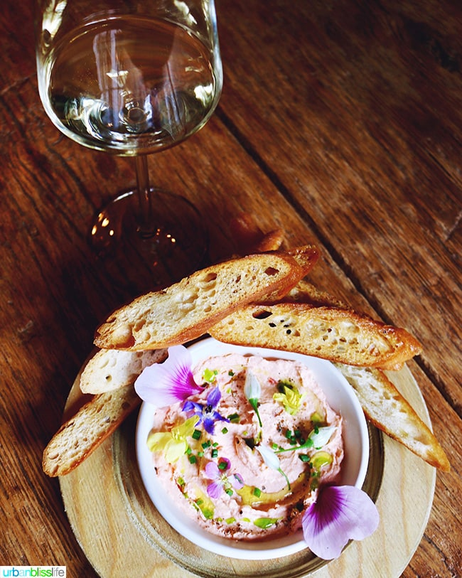 delicious salmon mousse and wine at The Bewildered Pig restaurant