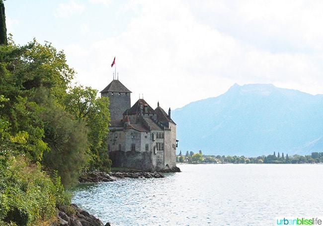 Chateau de Chillon view with lake