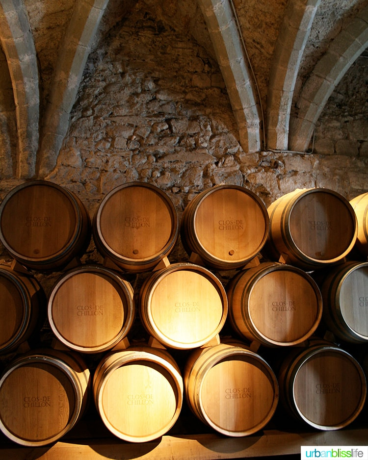 wine barrels in the wine cellar at Chateau de Chillon