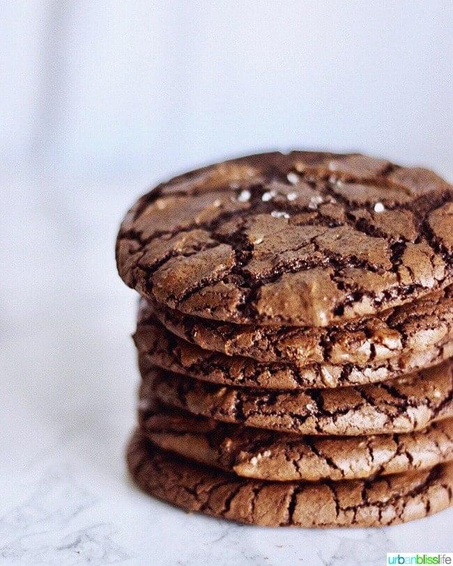stack of Chewy Chocolate Fudge Cookies AKA Brownie Crinkle Cookies