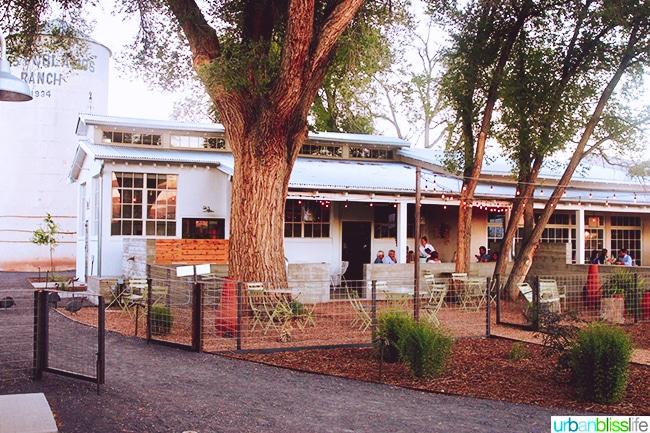 restaurant at dusk Los Poblanos Inn Albuquerque New Mexico