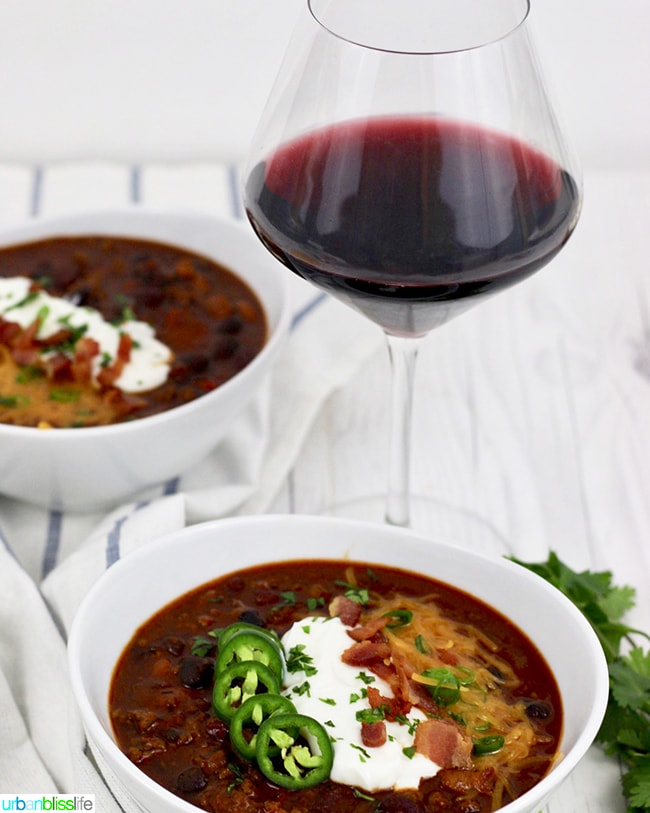 Instant Pot Chili with glass of red wine