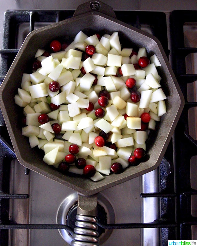 Apples and Cranberries in skillet