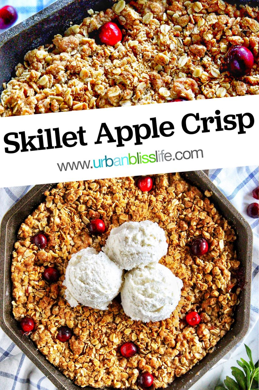 skillet apple cranberry crisp with three scoops of vanilla ice cream with title text overlay