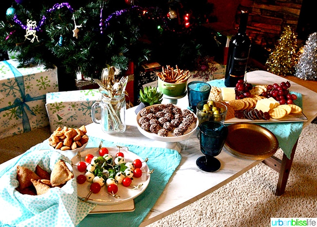 holiday party table with appetizers