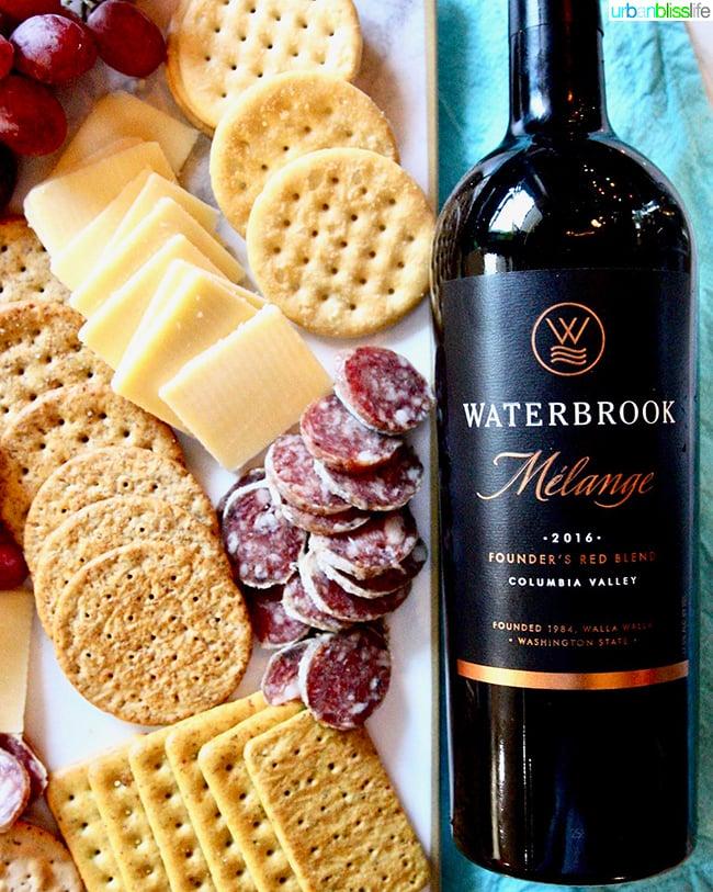 cheese board and Waterbrook wine