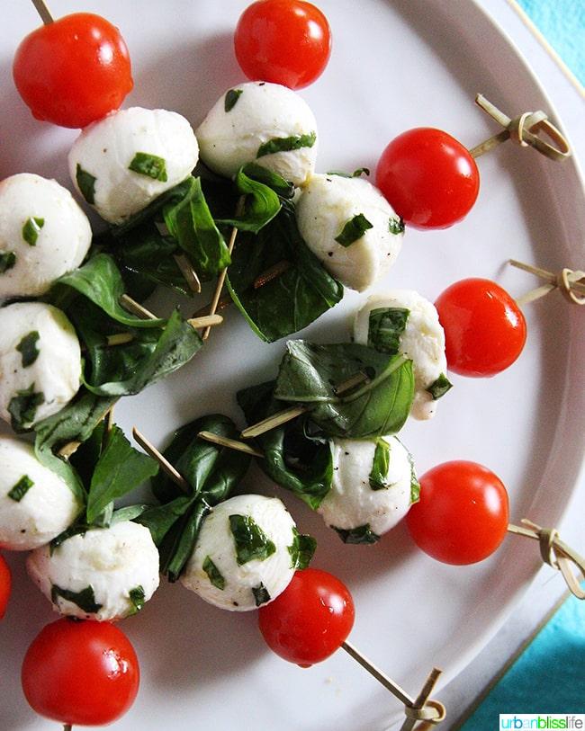 Mozzarella and tomato Caprese bites