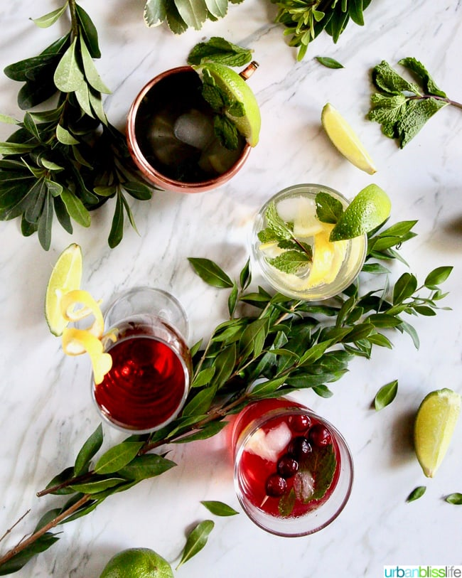mocktail recipes: various mocktails on a table with limes