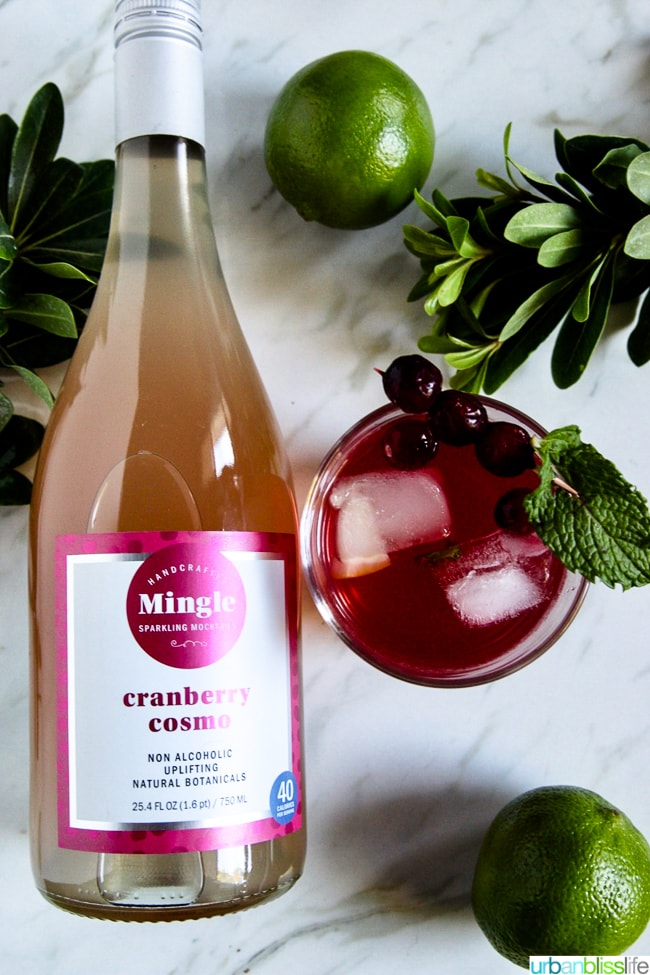 mocktail recipes: mingle cranberry cosmo mocktail mix and drink