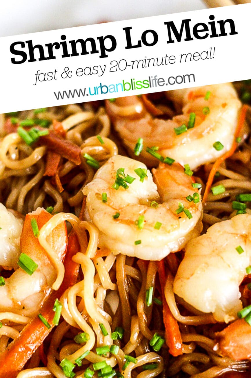 shrimp lo mein with text