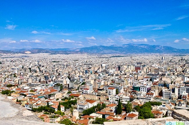view of the city of Athens, Greece from the Acropolis