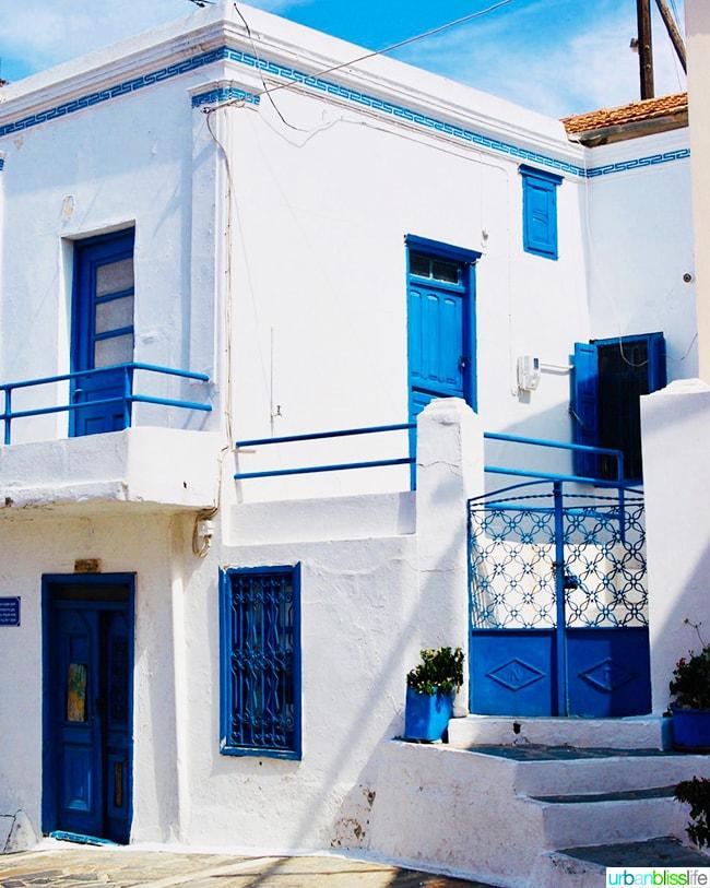 classic white and blue house on Karpathos island, Greece