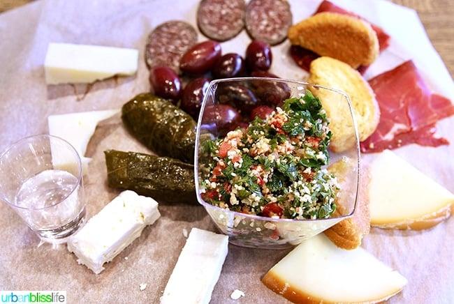 charcuterie, cheese, dolma, tzatziki in Miran Deli in Athens, Greece