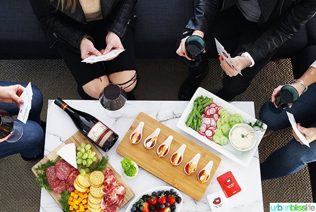 game night girls night in with red wine and appetizers