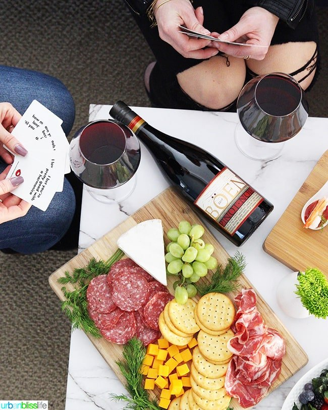 red wine, charcuterie board, game night with girlfriends