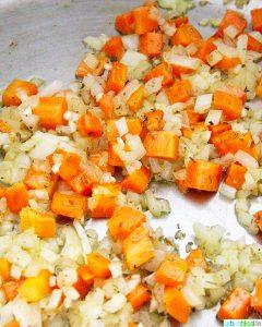 veggies sauteeing for Sausage Tortellini Soup