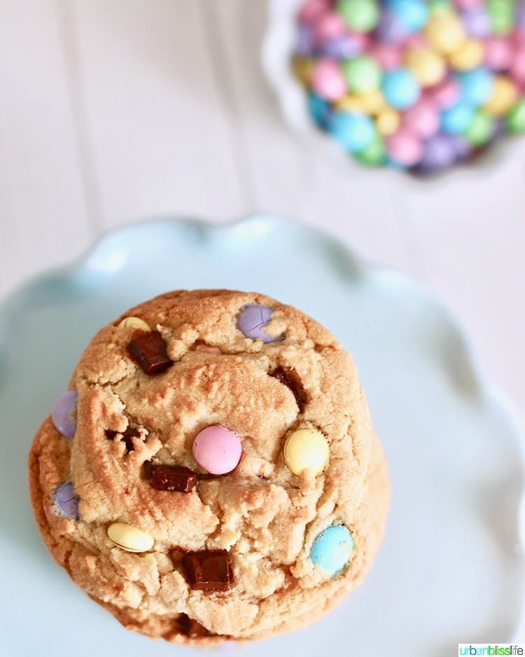 overhead of Giant Chocolate Chip M&M Cookies