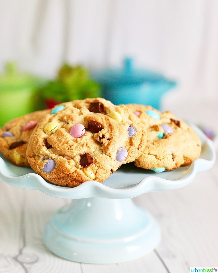 Giant Chocolate Chip M&M Cookies on cake plate