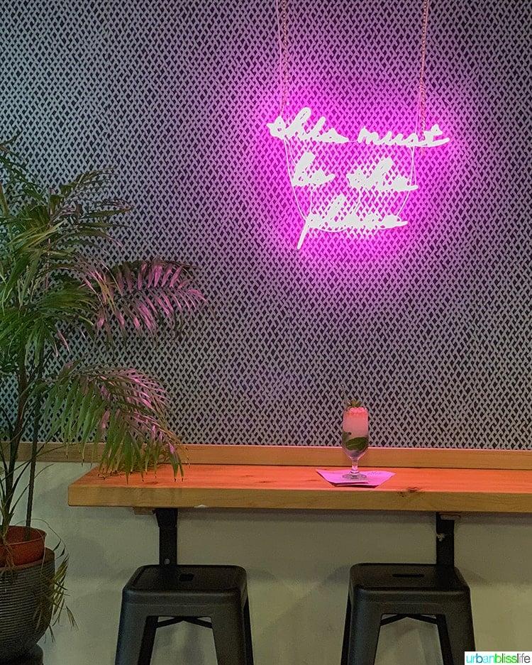 neon sign and cocktail at Bar Miranda