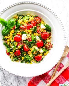 Summer Corn & Quinoa Caprese Salad with tomatoes