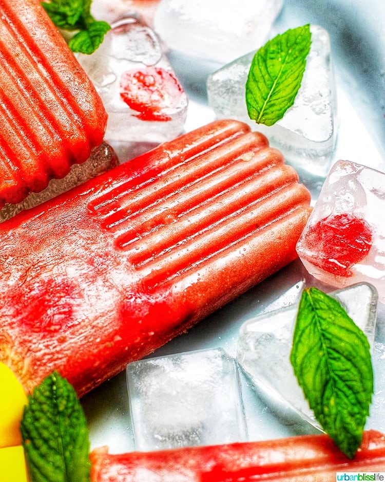 Strawberry Rhubarb Popsicles close up