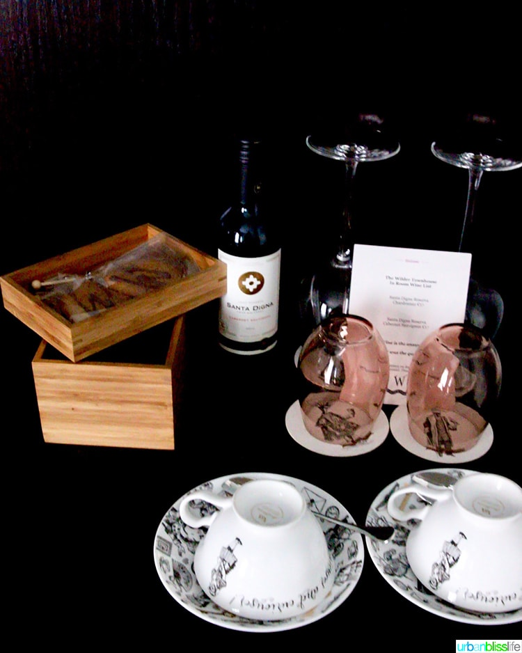wine and tea at Wilder Townhouse