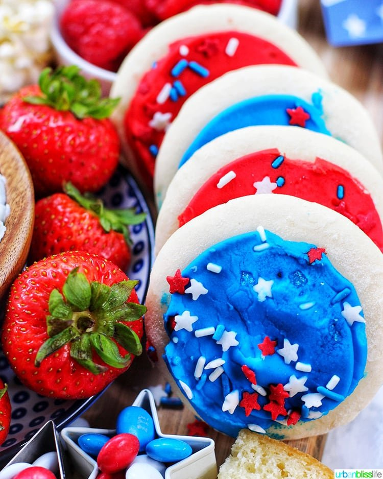 4th of July Dessert Board strawberries and cookies