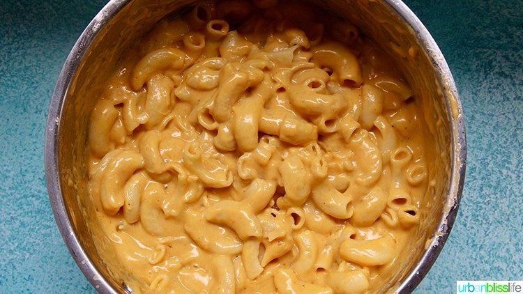 dairy-free mac and cheese in stockpot
