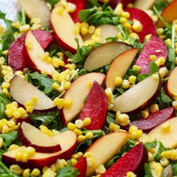peaches, plums, corn, arugula salad