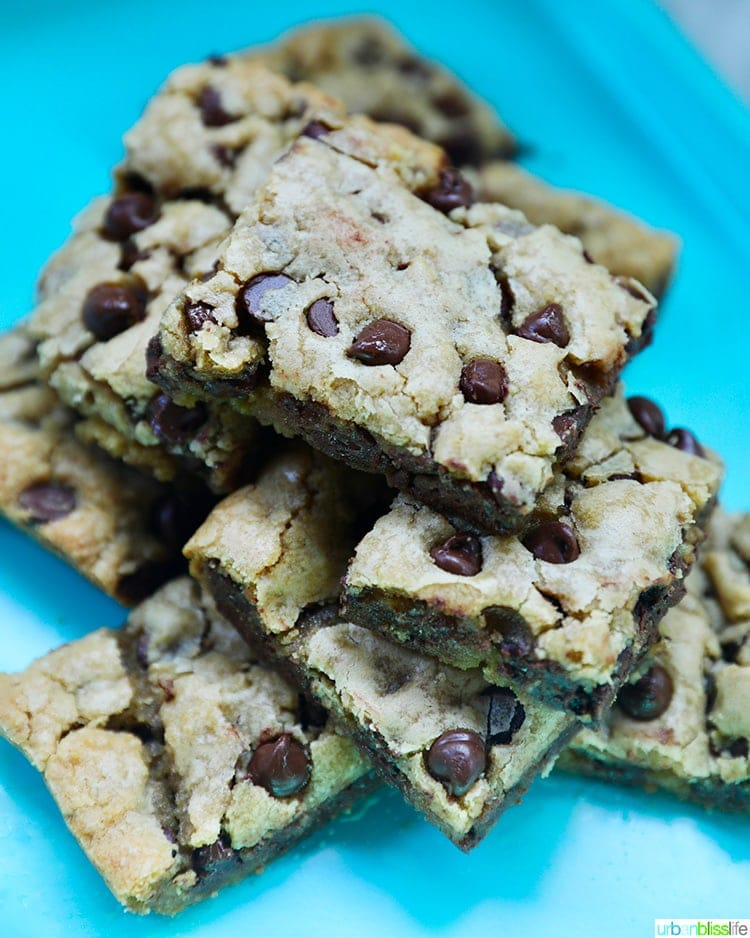 stack of chocolate chip bars