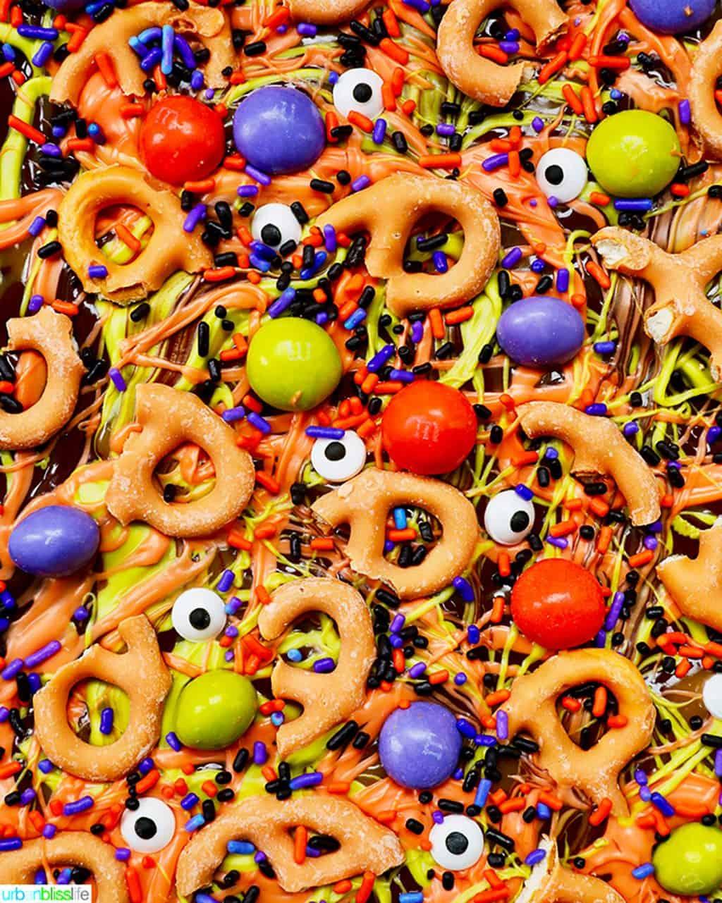 closeup of monster halloween bark candy