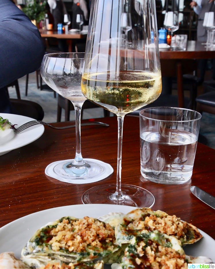 wine and oysters at Manhatta restaurant NYC