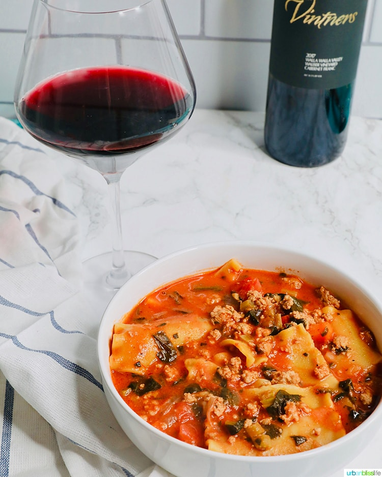 Easy One-Pot Lasagna Soup with wine