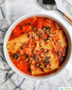 bowl of Easy One-Pot Lasagna Soup