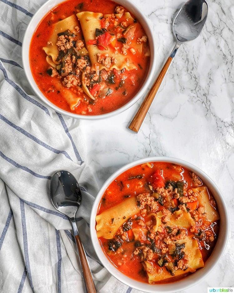 Easy One-Pot Lasagna Soup two bowls