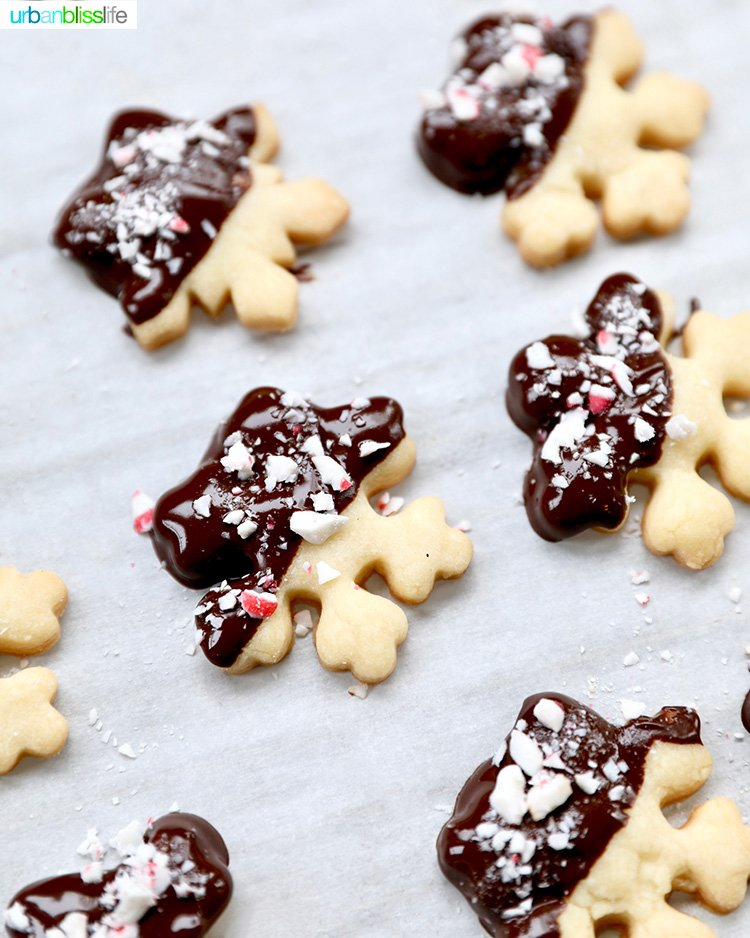 chocolate dipped peppermint shortbread cookies snowflakes