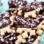 chocolate dipped peppermint shortbread cookies