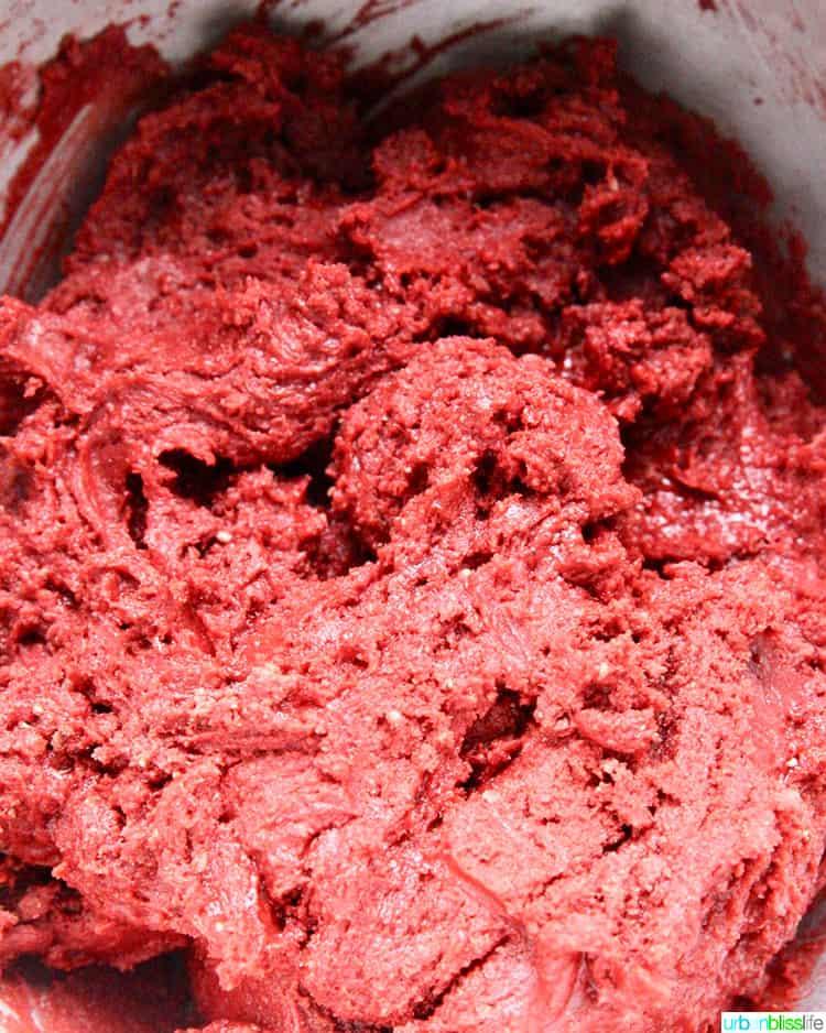 red velvet crinkle cookie dough
