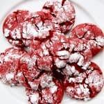 plate of red velvet crinkle cookies