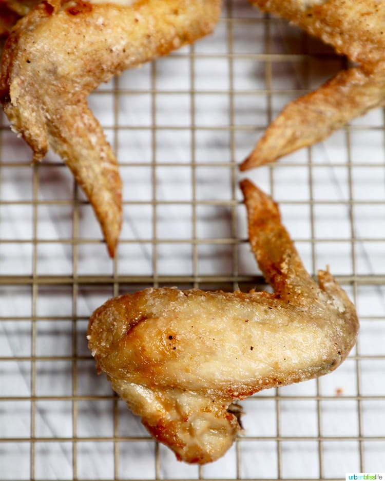 solo chicken wing on a cooling rack