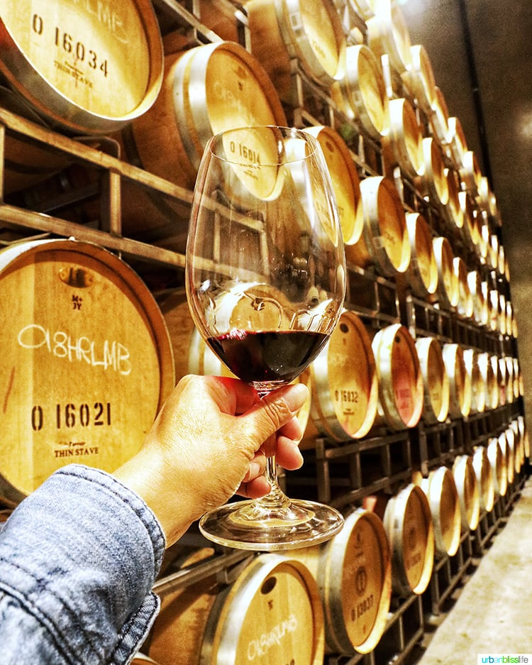 Tertulia Cellars red wine glass against wine barrels