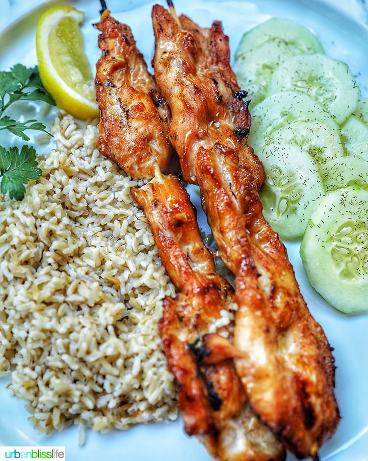 teriyaki chicken with rice and cucumber salad