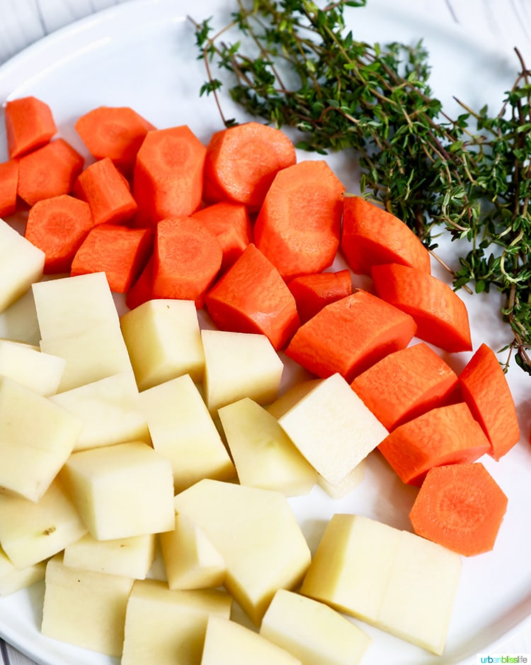 carrots, potatoes, thyme ingredients for Instant Pot Beef Stew